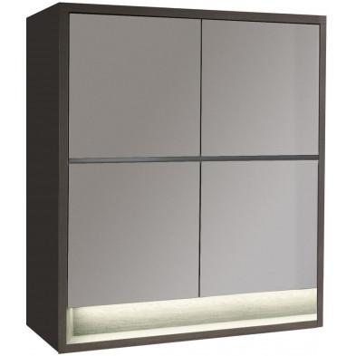 Rangement blanc moderne en panneaux de particules de haute qualité L. 128,9 x P. 48 x H. 145,1 cm collection Hoornweg