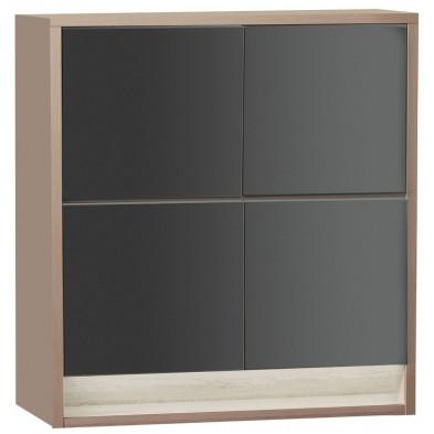 Rangement gris moderne en panneaux de particules de haute qualité L. 128,9 x P. 48 x H. 145,1 cm collection Bartels