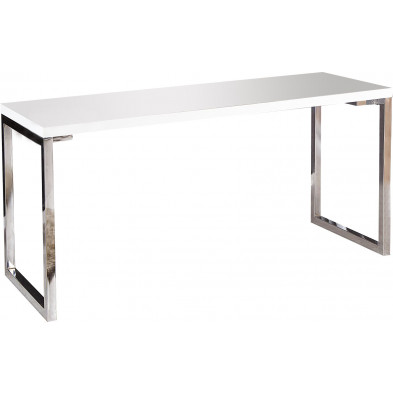 Bureau Design rectangle blanc laqué 140 cm collection Hidalgo