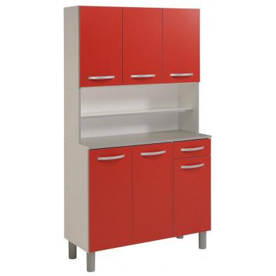 Buffet & vaisselier moderne rouge en panneaux de particules mélaminés de haute qualité  L. 101 x P. 42 x H. 185 cm Collection Cropani