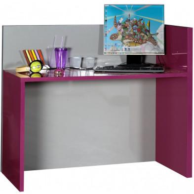 Bureau enfant rose design en panneaux de particules en finitions laquées L. 114 x P. 55 x H. 100 cm collection Nilay