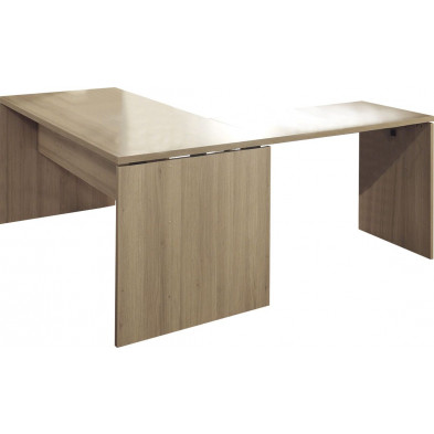 Bureau d'angle marron contemporain en panneaux de particules L 160 cm x H 75 cm x P 85 cm collection Governor