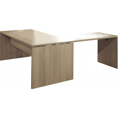 Bureau d'angle marron contemporain en panneaux de particule  L 200 cm x H 75 cm x P 85 cm  collection Governor
