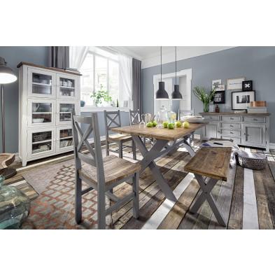 Composition salle à manger contemporaine en bois pin massif coloris blanc et marron collection Pomaia