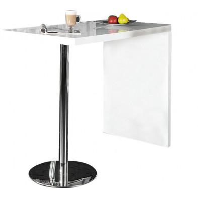 Table bar blanche design bois et métal L. 120 x H. 105 cm collection Decisive