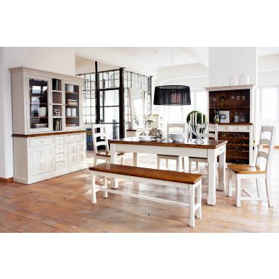 Composition salon contemporaine en bois pin massif coloris blanc et marron collection Razmus