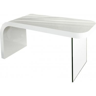 Bureau blanc Design bi-matière bois et verre L. 140 x H. 78 cm collection Cold