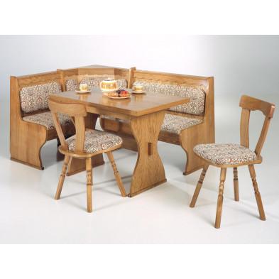 Ensemble tables et chaises en bois massif marron classique H 76 cm x L 110 à 172 cm x P 70 cm   collection Pombal