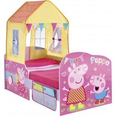 Lit petit-enfant 70x140 cm Peppa Pig  avec tente coloris rose collection Beat