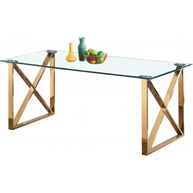 Table de salle à manger design plateau en miroir avec piètement en acier inoxydable poli L. 200 x P. 100 x H. 75 cm collection COSTA