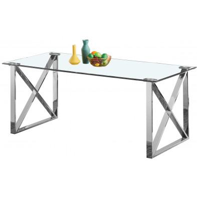 Table de salle à manger design plateau en miroir avec piètement en acier inoxydable poli collection COSTA L. 200 x P. 100 x H. 75 cm