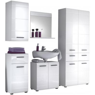Meubles de salle de bain 5 pièces coloris blanc L. 200 x P. 31 x H. 182 cm collection  Zwalm