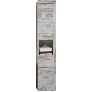 Colonne de rangement pour salle de bain design coloris pin canyon blanc L. 36 x P. 31 x H. 184 cm collection Rohrdorf