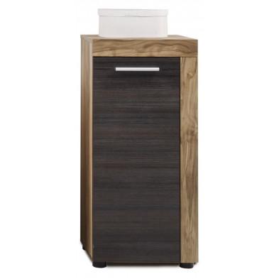 Armoire de rangement pour salle de bain 1 porte coloris chêne et gris foncé  L. 36 x P. 31 x H. 81 cm collection Rohrdorf