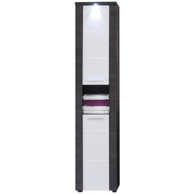 Colonne de rangement Design pour salle de bain design coloris imitation frêne gris  L. 40 x P. 29 x H. 184 cm collection Brawny