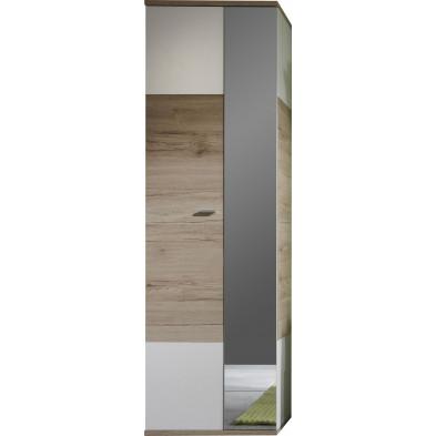 Armoire de rangement  2 portes coloris chêne San Remo et blanc L 57 x P 38 x H 190 cm collection Quain