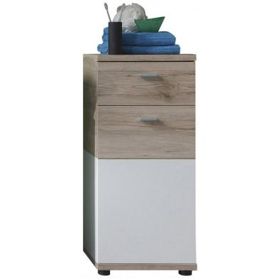 Armoire de rangement pour salle de bain 1 porte et 1 tiroir coloris chêne de San Remo et blanc L. 36 x P. 31 x H. 81 cm collection Chiuro