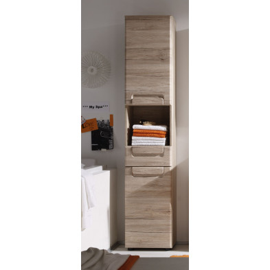 Colonne de rangement pour salle de bain design coloris chêne L. 37 x P. 31 x H. 184 cm collection Chu
