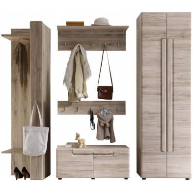 Vestiaire avec  armoire 2 portes, meuble vestiaire, meuble bas et de 2 portes-manteau murales coloris chêne de San Remo L. 238 x P. 38 x H. 191 cm collection Camarles