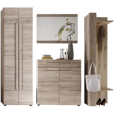 Vestiaire avec armoire 2 portes, meuble à chaussure, miroir et meuble vestiaire coloris chêne de San Remo  L. 240 x P. 38 x H. 191 cm collection Camarles