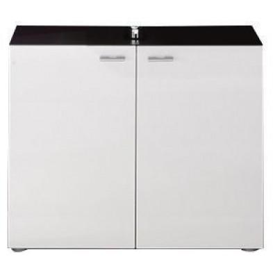 Meuble sous vasque 2 portes coloris gris anthracite et blanc brillant L. 72 x P. 35 x H. 63 cm collection Bracke