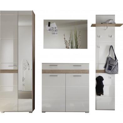 Vestiaire avec armoire 2 portes , meuble à chaussure , miroir et meuble vestiaire coloris blanc et chêne de San Remo L. 222 x P. 38 x H. 195 cm collection Janbon