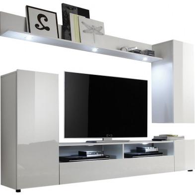 Unité murale de meubles TV avec 1 banc TV, meuble mural et 1 étagère coloris blanc  L. 208 x P. 33 x H. 165 cm collection Straatman