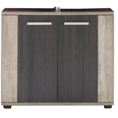 Meuble sous vasque  2 portes coloris chêne clair et foncé L. 70 x P. 32 x H. 61 cm collection  Galdakao