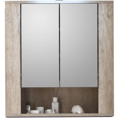 Armoire murale pour salle de bain avec miroir à 2 portes et 1 étagère coloris chêne clair  L. 70 x P. 22 x H. 75 cm collection Galdakao