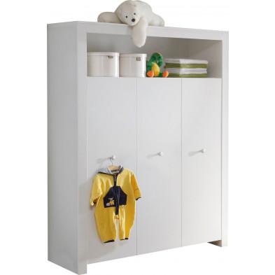 Armoire de bébé  3 portes et 1 niche coloris blanc  L. 130 x P. 54 x H. 186 cm collection Johann