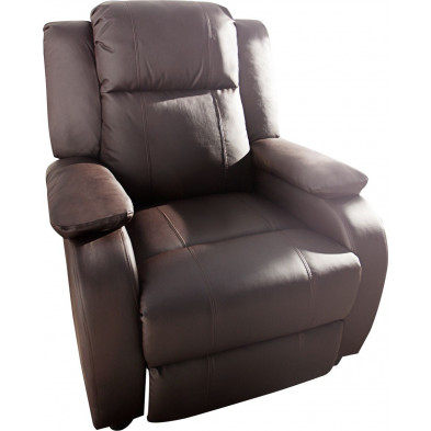 Fauteuil relax design en pvc coloris marron L. 90 x P. 90 x H. 106 cm collection Neo