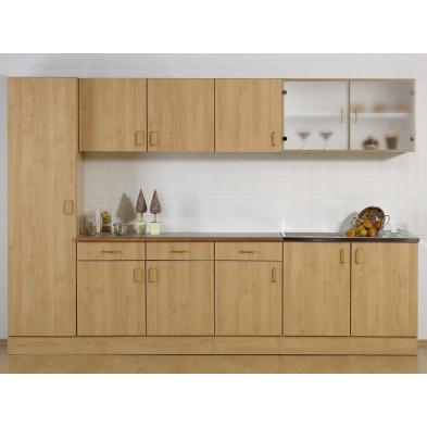 Composition cuisine complete  H 200 cm x L 300 cm x P 50 cm coloris marron moderne collection Llangain