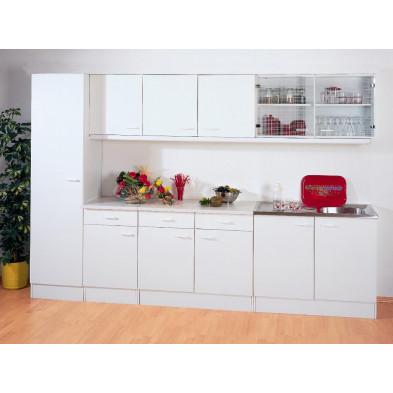 Composition de cuisine blanc moderne en panneaux de particules  H 200 cm x L 300 cm x P 50 cm  collection Spijkstra