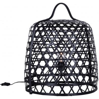 Lampadaire design noir en bambou d'une hauteur de 53 cm Collection Connection