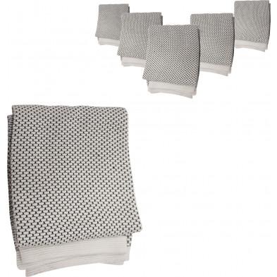 Lot de 6 plaids design blanc et noir 100% coton L. 150 x P. 125 cm Collection Moan