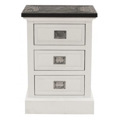 Commode contemporaine blanche en bois et placage MDF L. 45 x P. 35 x H. 64 cm Collection Straub