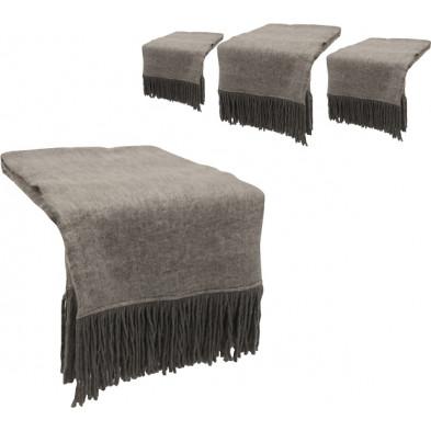 Lot de 4 plaids design gris en tissu (20% laine, 57% acrylique et 23% polyester) Collection Christy