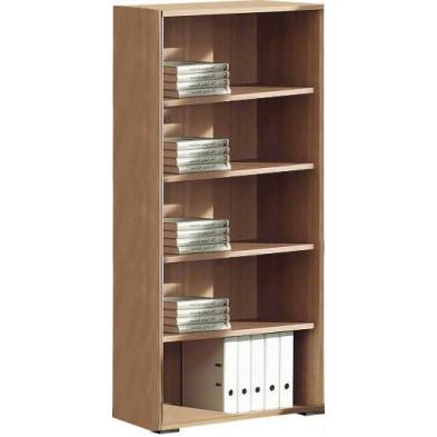 Meuble étagère marron contemporain en panneaux de particules mélaminés de haute qualité L. 90 x P. 42 x H. 185 cm collection Uersfeld