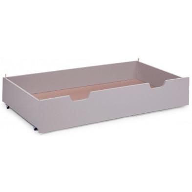 Tiroir pour lit avec roulettes design gris en bois massif hêtre 60x120  Collection Nordeste