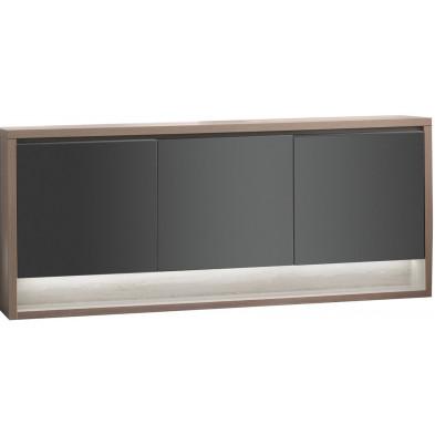 Buffet - vaisselier marron moderne en panneaux de particules de haute qualité L. 189,2 x P. 48 x H. 84,8 cm collection Bartels