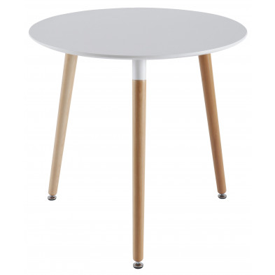 Table design blanc scandinave en ABS D. 80 x H. 75 cm Collection Saintandre