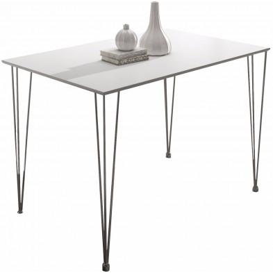 Table de salle à manger blanc moderne L. 120 x H. 75 cm Collection Cockermouth