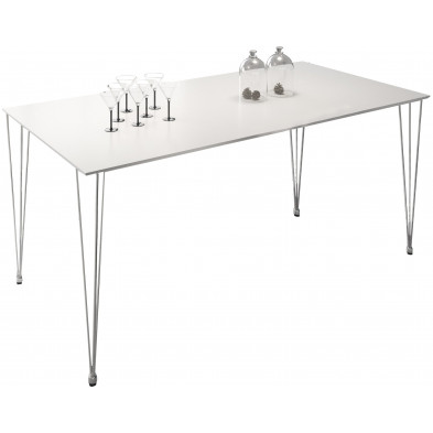 Table à manger blanc moderne en Acier inoxydable  L. 180 x H. 75 cm Collection Cockermouth
