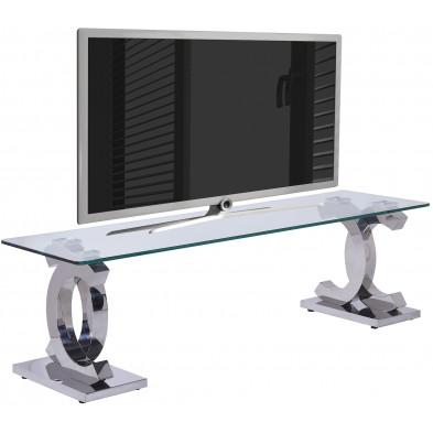 Meuble tv argenté design en acier inoxydable poli L. 160 x P. 45 x H. 45 cm collection Niel