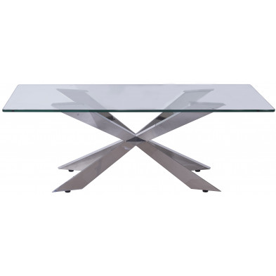 Table basse en verre argenté design en acier inoxydable poli L. 130 x P. 70 x H. 45 cm collection Urvin