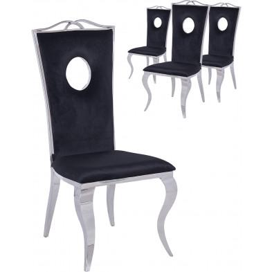 Lot de 4 chaises design Argenté Baroque en Acier inoxydable poli L. 50 x P. 48 x H. 110 cm collection Frabinetto