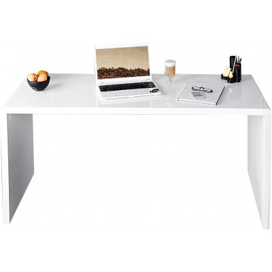 Bureau design en bois mdf  coloris blanc L. 140 x P. 60 x H. 75 cm collection Gieben