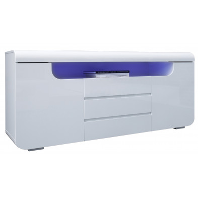 Buffet design avec éclairage LED en MDF coloris blanc L. 150 x P. 40 x H. 75 cm collection Ineuch