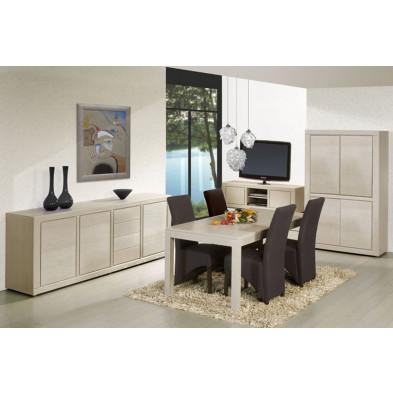 Argentier - meuble bar en bois massif blanc contemporain L. 115 x P. 48 x H. 182 cm collection Ciminna