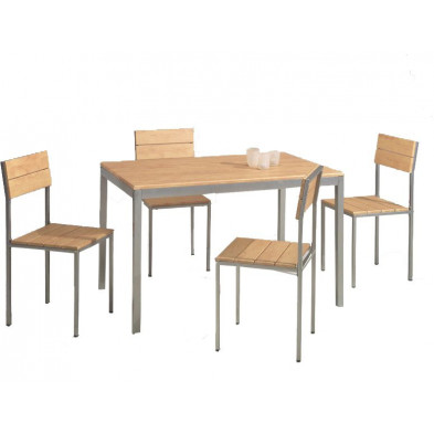 Ensemble table et chaise en méta et panneaux de particules L 120 cm x H 76 cm x P 70 beige classique collection Damian